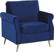 Velvet Fabric Armchair Cobalt Blue Upholstery Gold