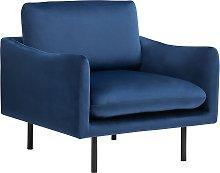 Velvet Fabric Armchair Dark Blue VINTERBRO