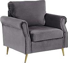 Velvet Fabric Armchair Dark Grey Upholstery Gold