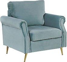 Velvet Fabric Armchair Mint Green Upholstery Gold