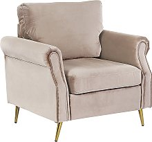 Velvet Fabric Armchair Taupe Upholstery Gold Metal