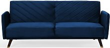 Velvet Fabric Sofa Bed Blue SENJA