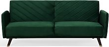 Velvet Fabric Sofa Bed Green SENJA