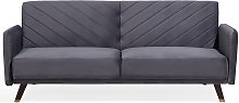 Velvet Fabric Sofa Bed Grey SENJA