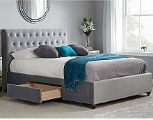 Velvet Fabric Storage Bed, Happy Beds Marlow Grey
