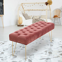 Velvet Footstool Coffee Table Stool Bench Chair