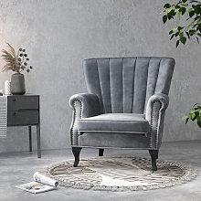 Velvet Pleated Wingback Armchair, Grey