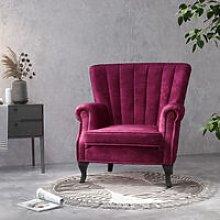 Velvet Pleated Wingback Armchair, Wine Red