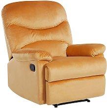 Velvet Recliner Chair Yellow ESLOV