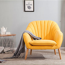 Velvet Scallop Back Armchair Single Sofa Chair,