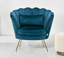 Velvet Scalloped Accent Tub Chair With Cushion,