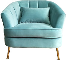 Velvet Shell Tub Chair With Cushion, Tiffany Blue