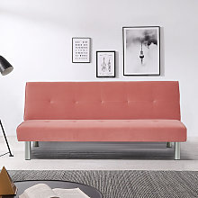 Velvet Simple 2 Seater Sofa Bed, Pink