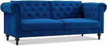 Velvet Sofa Bed Chesterfield Style 3 Seater Sofa