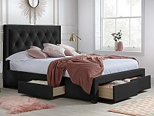 Velvet Storage Bed, Happy Beds Woodbury Black