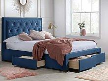 Velvet Storage Bed, Happy Beds Woodbury Blue