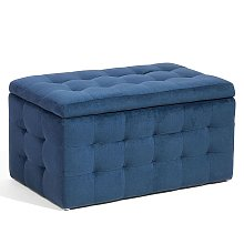Velvet Storage Ottoman Dark Blue MICHIGAN