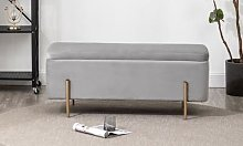 Velvet Storage Ottoman with Brushed Gold Legs: Pink