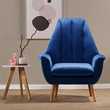 Velvet Wingback Armchair Scalloped Cocktail Chair,