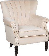 Velvet Wingback Chair Beige SVEDALA