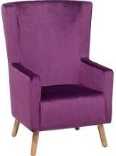 Velvet Wingback Chair Purple ONEIDA