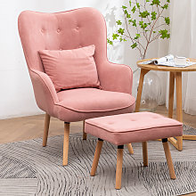 Velvet Wingback Lounge Armchair and Footstool, Pink