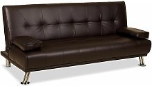 Venice Faux Leather Clic-Clac Sofa Bed - Brown