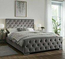 Venice Plush Velvet Upholstered Bed Frame - Steel
