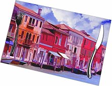 Venice Water Street Oil Painting Placemats Set of