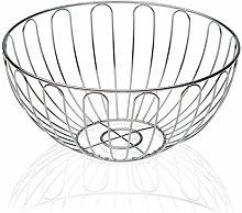 Versa 10370493 Round Chrome Fruit Bowl 25 cm Steel