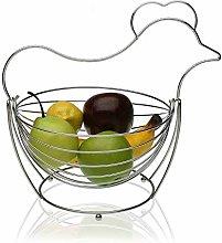 Versa 10370494 Chrome Fruit Bowl Hen Steel