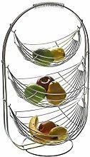 Versa 10370498 3-Tier Chrome Steel Fruit Bowl