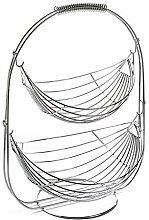 Versa 18550793 Two Height Chrome Fruit Bowl, Steel