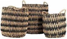 Versmissen - 3/set Black/White Seagrass Basket