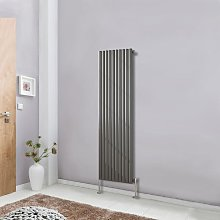 Vertical Anthracite Designer Radiator Tall Upright 1600x590 Oval Column Single Panel Central Heating