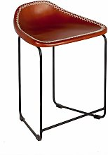 Verty Furniture - Brown Leather Stool made from