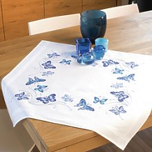 Vervaco Blue Butterflies Tablecloth Embroidery Kit