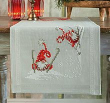 Vervaco Christmas Elves Skiing Embroidery Table