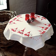 Vervaco Christmas Gnomes Tablecloth Embroidery Kit