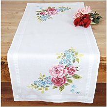 Vervaco Embroidery: Runner: Floral Wreath, 100%