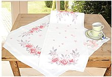 Vervaco Embroidery: Runner: Pink Roses, 100%