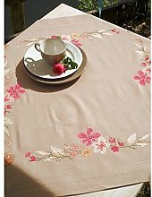 Vervaco Embroidery: Tablecloth: Pink Flowers,