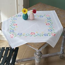 Vervaco Pink And Blue Flowers Tablecloth