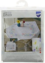 Vervaco Tablecloth Pink and Blue Flowers, Cotton