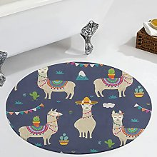 Veryday Alpaca Animals Round Rug Luxury Bedroom
