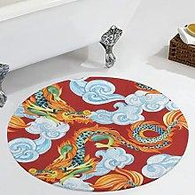 Veryday Chinese Dragon Cloud Round Rug Decorative