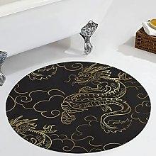 Veryday Gold Dragon Round Rug Modern Living Room