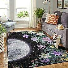 Veryday Moon Flowers Starry Sky Rug Decorative