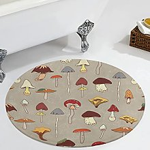 Veryday Mushroom Plants Round Rug Modern Bedroom