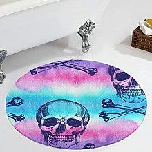 Veryday Skull Bone Watercolour Round Rug
